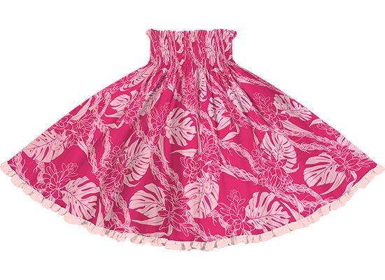 【リヒリヒパウスカート】 ピンクのパウスカート モンステラ・ピカケ・カウナオアレイ柄 lhpau-2759Pi-peach