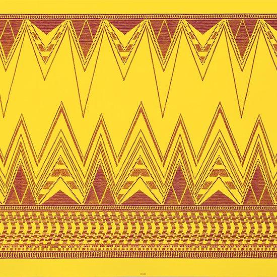 黄色のハワイアンファブリック カヒコ・ボーダー柄 fab-2761YW 【4yまでメール便可】