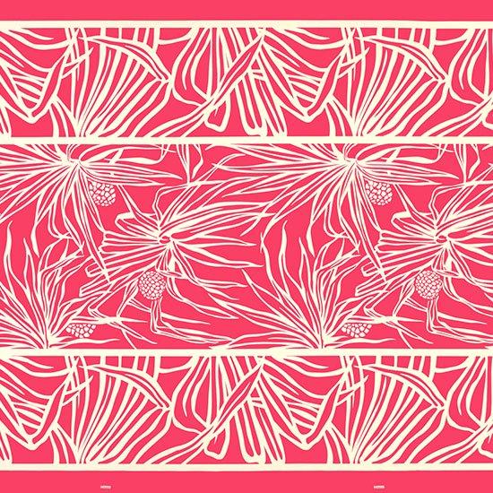 ピンクのハワイアンファブリック ハラ柄 fab-2762Pi 【4yまでメール便可】