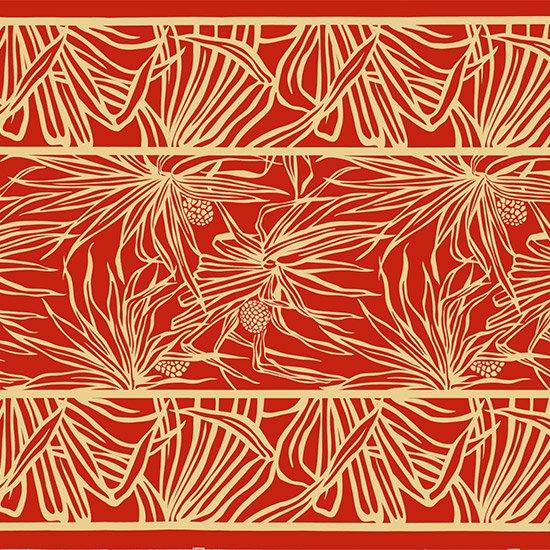 赤のハワイアンファブリック ハラ柄 fab-2762RD 【4yまでメール便可】