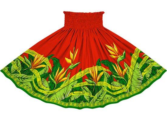 赤のパウスカート バードオブパラダイス柄 sprm-2726RD 77cm 4本ゴム【既製品】