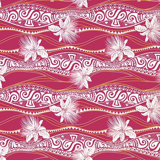 紫のハワイアンファブリック レフア・トライバル柄 fab-2763PP 【4yまでメール便可】