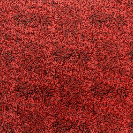 赤のハワイアンファブリック ティリーフ柄 fab-2764RD 【4yまでメール便可】