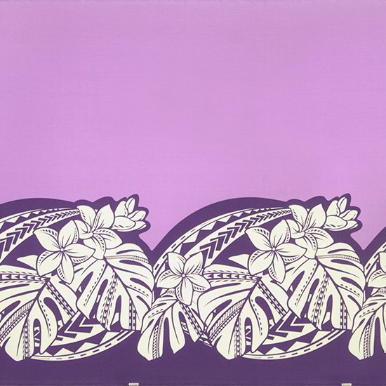 紫のハワイアンファブリック プルメリア・モンステラ柄 fab-2765PP 【4yまでメール便可】