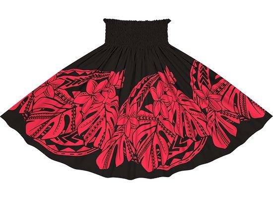 黒と赤のパウスカート プルメリア・モンステラ柄 sprm-2765BKRD 75cm 4本ゴム【既製品】