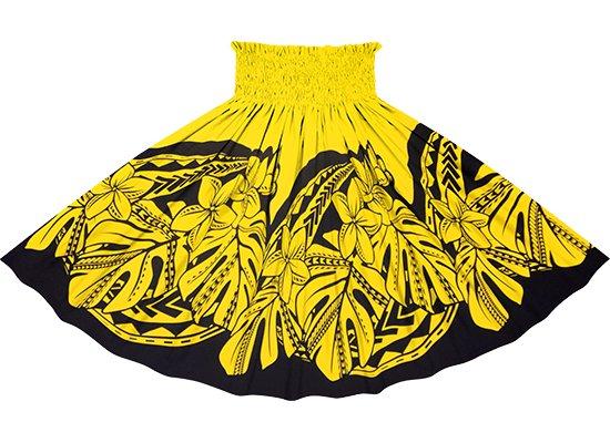 黄色のパウスカート プルメリア・モンステラ柄 sprm-2765YW 75cm 4本ゴム【既製品】