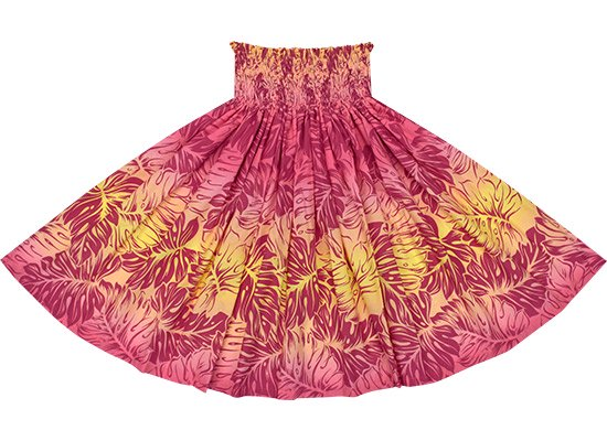 ピンクと黄色のパウスカート モンステラ・グラデーション柄 Sprm-2637PiYW 70cm 4本ゴム ロック仕上げ【既製品】