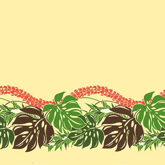 ベージュのハワイアンファブリック モンステラ・プルメリア柄 fab-2767BG 【4yまでメール便可】
