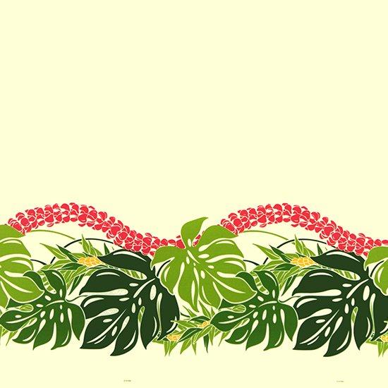 クリーム色のハワイアンファブリック モンステラ・プルメリア柄 fab-2767CR 【4yまでメール便可】