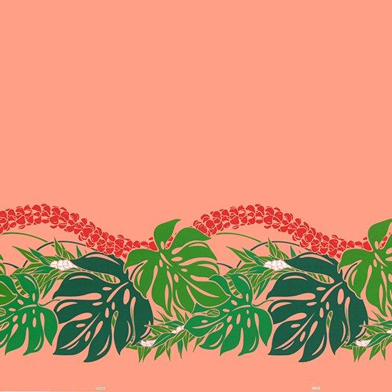 ピンクとオレンジのハワイアンファブリック モンステラ・プルメリア柄 fab-2767PiOR 【4yまでメール便可】