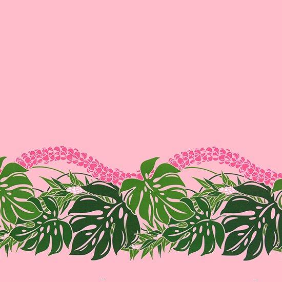 ピンクのハワイアンファブリック モンステラ・プルメリア柄 fab-2767PiPi 【4yまでメール便可】