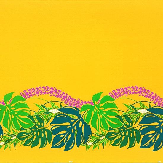 黄色のハワイアンファブリック モンステラ・プルメリア柄 fab-2767YW 【4yまでメール便可】