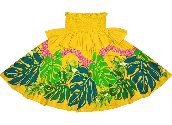【フリルパウスカート】黄色のモンステラ・プルメリア柄 frpau-2767YW