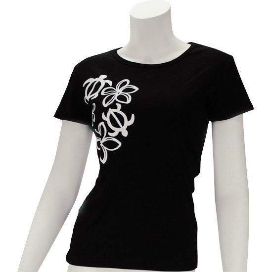 レディースTシャツ−ホヌ・プルメリア シルクプリント 【2枚までメール便可】