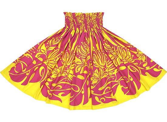黄色のパウスカート 紫のレフア・モンステラ柄 Sprm-2562YWPi 70cm 4本ゴム ロック仕上げ【既製品】