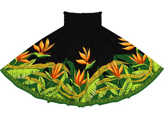 黒のパウスカート バードオブパラダイス柄 sprm-2726BK 75cm 3本ゴム【既製品】