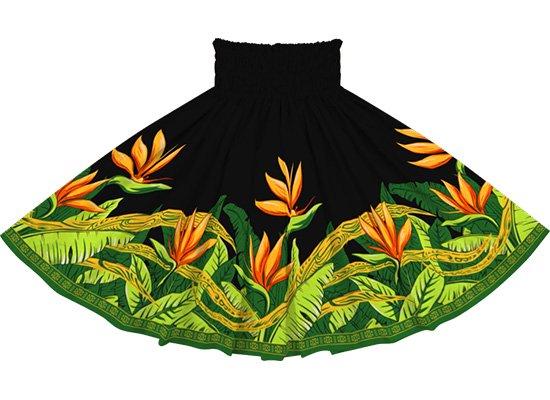 黒のパウスカート バードオブパラダイス柄 sprm-2726BK 76cm 3本ゴム【既製品】