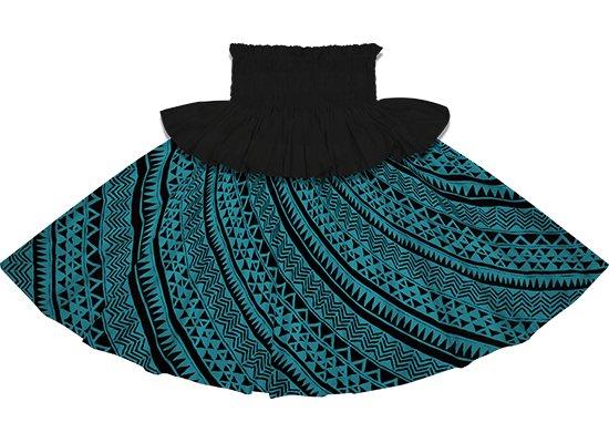【フリルパウスカート】ブラックの無地フリルとヒスイ色のタパ・カヒコ柄 frpau-2740JD