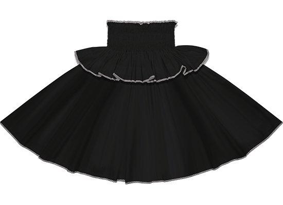 【フリルパイピングパウスカート】ブラックの無地に黒のパラカのパイピング fppau-black