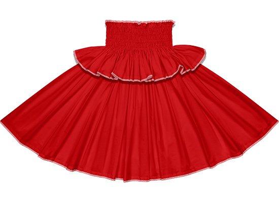 【フリルパイピングパウスカート】クリムゾンの無地に赤のパラカのパイピング fppau-crimson