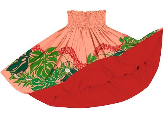 【リバーシブルパウスカート】ピンクとオレンジのモンステラ・プルメリア柄 カーディナルレッドのリバーシブル rvpau-2767PiOR