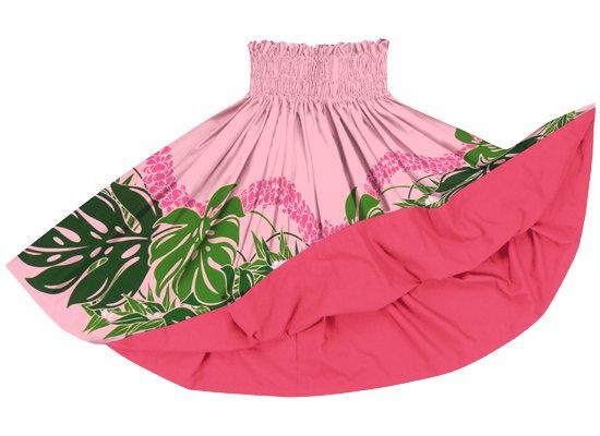 【リバーシブルパウスカート】ピンクのモンステラ・プルメリア柄 トロピカルピンクのリバーシブル rvpau-2767PiPi