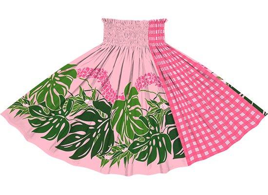 【たて切り替えパウスカート】 ピンクのモンステラ・プルメリア柄とピンクのパラカ柄 vypau-2767PiPi