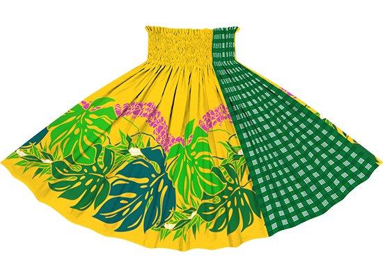 【たて切り替えパウスカート】 黄色のモンステラ・プルメリア柄と緑のパラカ柄 vypau-2767YW