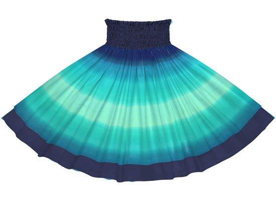 【ダブルパウスカート】ヒスイ色と青のグラデーション柄とネイビーの無地 dpau-2270JDBL