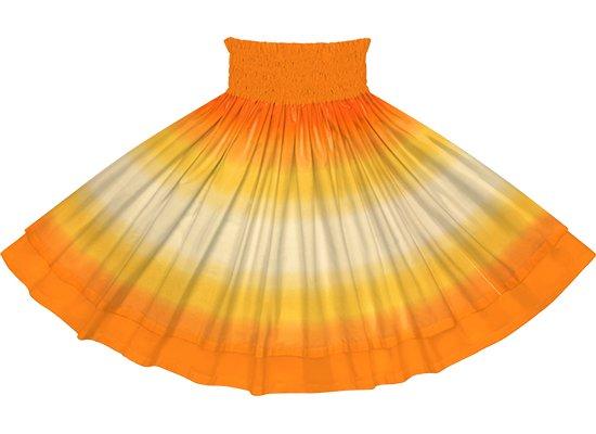 【ダブルパウスカート】黄色とオレンジのグラデーション柄とビビッドオレンジの無地 dpau-2270YWOR