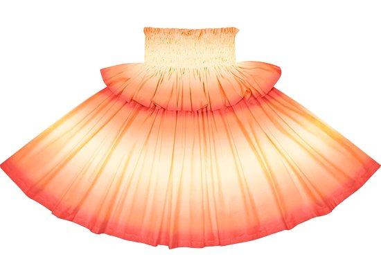 【フリルパウスカート】クリーム色と赤のグラデーション柄 frpau-2270CRRD