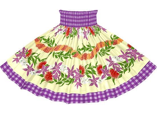 【ダブルパウスカート】ベージュのオーキッド・レフア・レイ・ボーダー柄と紫のパラカ dpau-2700BG
