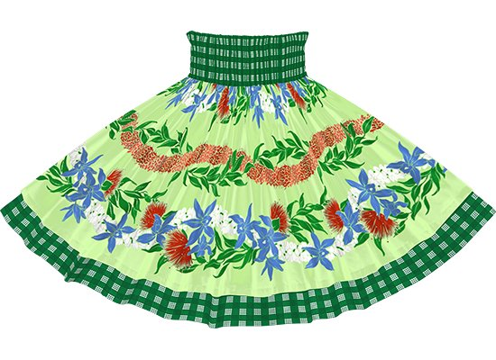 【ダブルパウスカート】きみどりのオーキッド・レフア・レイ・ボーダー柄と緑のパラカ dpau-2700LG