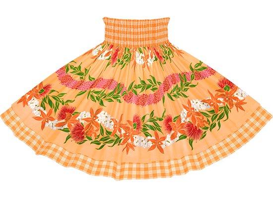 【ダブルパウスカート】オレンジのオーキッド・レフア・レイ・ボーダー柄とオレンジのパラカ dpau-2700OR