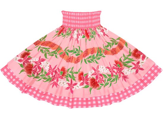 【ダブルパウスカート】ピンクのオーキッド・レフア・レイ・ボーダー柄とピンクのパラカ dpau-2700Pi