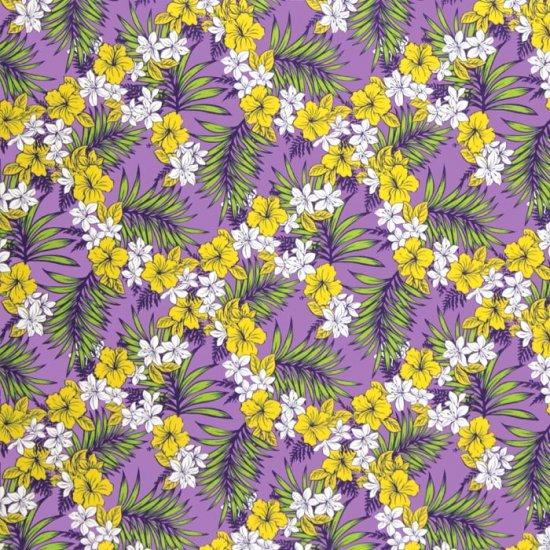 【カット生地】(1ヤード) 紫のハワイアンファブリック ハイビスカス・プルメリア・ヤシ柄 fab1y-2581PP 【4yまでメール便可】