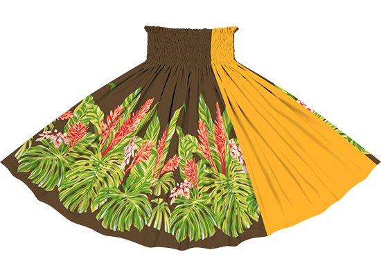 【たて切り替えパウスカート】茶色のモンステラ・ジンジャー柄とニューゴールドの無地 vypau-2672BR