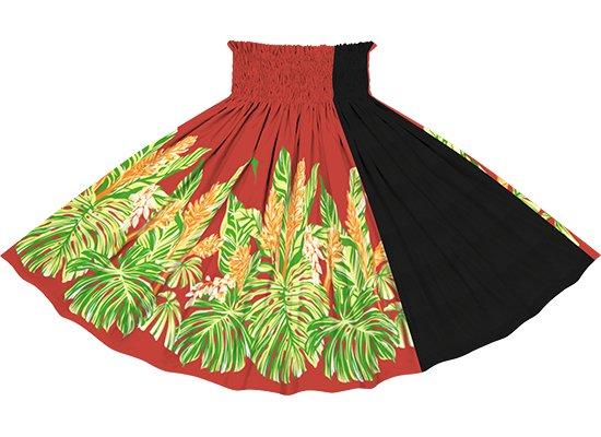【たて切り替えパウスカート】赤のモンステラ・ジンジャー柄とブラックの無地 vypau-2672RD