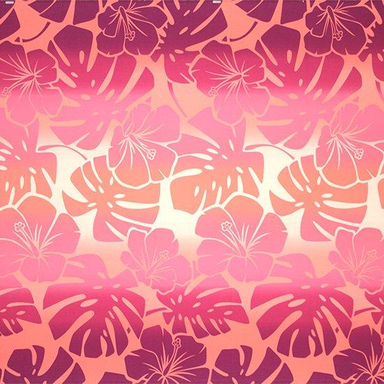 ピンクのハワイアンファブリック ハイビスカス・モンステラ・グラデーション柄 fab-2769Pi 【4yまでメール便可】