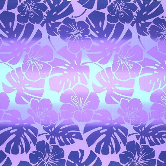 紫のハワイアンファブリック ハイビスカス・モンステラ・グラデーション柄 fab-2769PP 【4yまでメール便可】