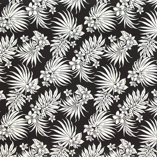 黒のハワイアンファブリック プルメリア・ヤシ柄 fab-2770BK 【4yまでメール便可】