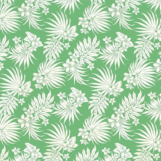 緑のハワイアンファブリック プルメリア・ヤシ柄 fab-2770GN 【4yまでメール便可】