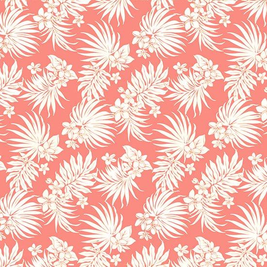 ピンクのハワイアンファブリック プルメリア・ヤシ柄 fab-2770Pi 【4yまでメール便可】