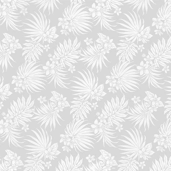 白のハワイアンファブリック プルメリア・ヤシ柄 fab-2770WH 【4yまでメール便可】