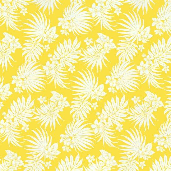 黄色のハワイアンファブリック プルメリア・ヤシ柄 fab-2770YW 【4yまでメール便可】