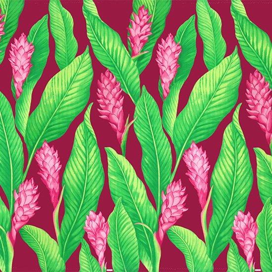 紫のハワイアンファブリック レッドジンジャー大柄 fab-2771PP 【4yまでメール便可】