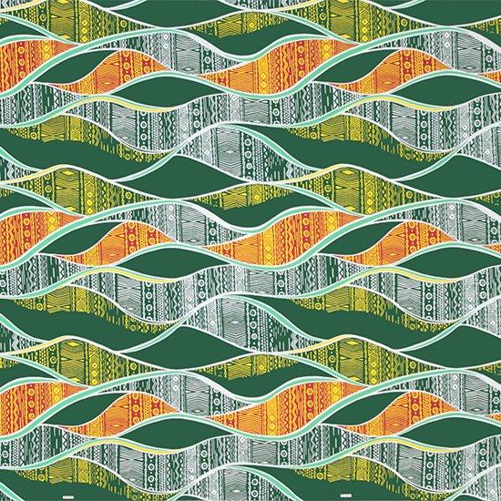 緑のハワイアンファブリック カヒコ柄 fab-2772GN 【4yまでメール便可】