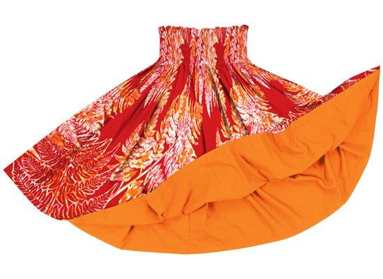 【リバーシブルパウスカート】赤のパラパライ柄 ビビッドオレンジのリバーシブル rvpau-2768RD