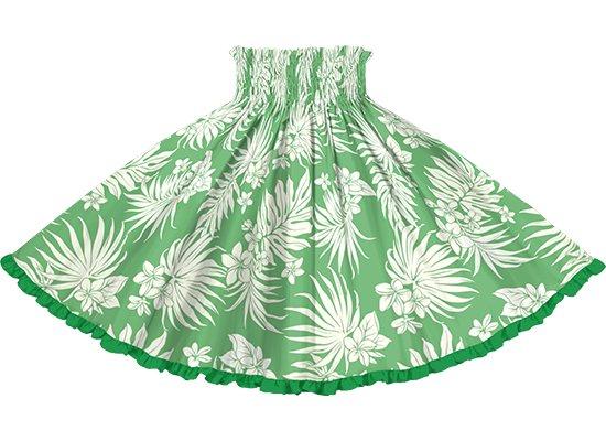 【リヒリヒパウスカート】 緑のパウスカート プルメリア・ヤシ柄 lhpau-2770GN