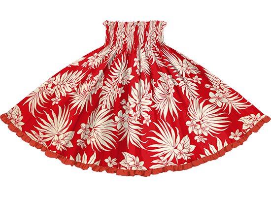 【リヒリヒパウスカート】 赤のパウスカート プルメリア・ヤシ柄 lhpau-2770RD